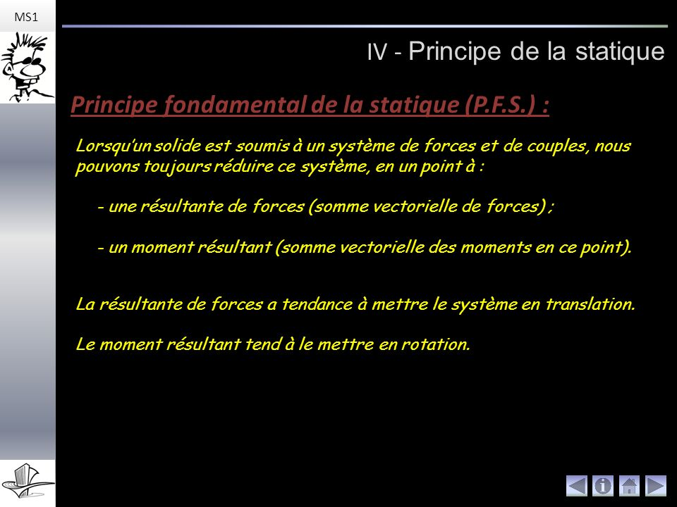 IV - Principe de la statique