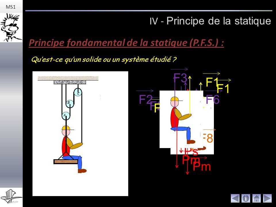 F3 Ps F4 F5 Pm F1 F2 Pm F1 F2 F6 F7 F8 IV - Principe de la statique