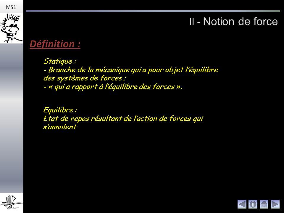 II - Notion de force Définition : Statique :