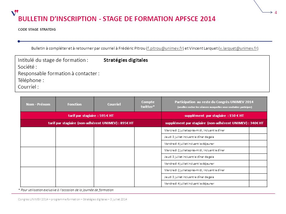 BULLETIN D'INSCRIPTION - STAGE DE FORMATION APFSCE 2014