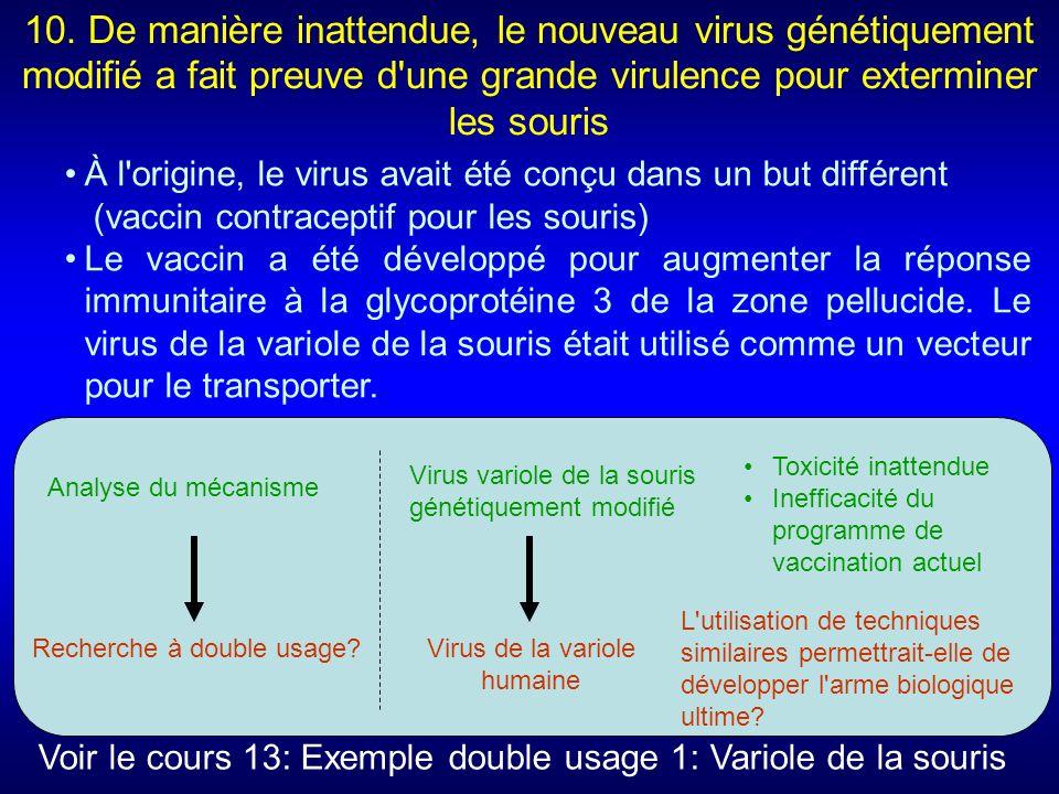 10. De manière inattendue, le nouveau virus génétiquement modifié a fait preuve d une grande virulence pour exterminer les souris