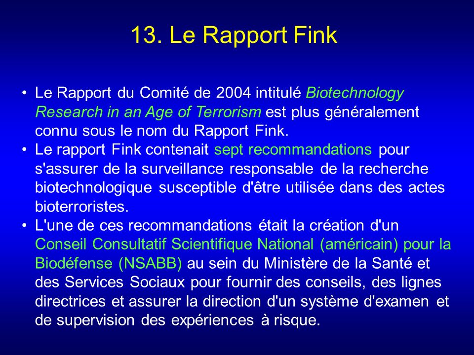 13. Le Rapport Fink