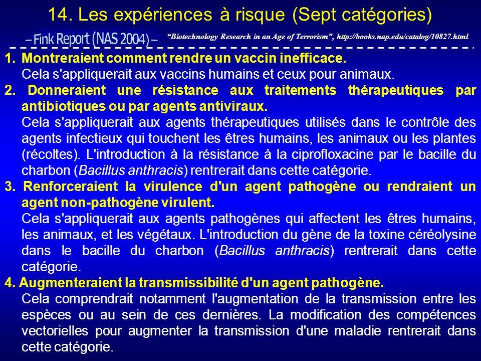 14. Les expériences à risque (Sept catégories)