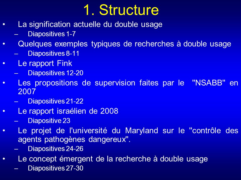 1. Structure La signification actuelle du double usage