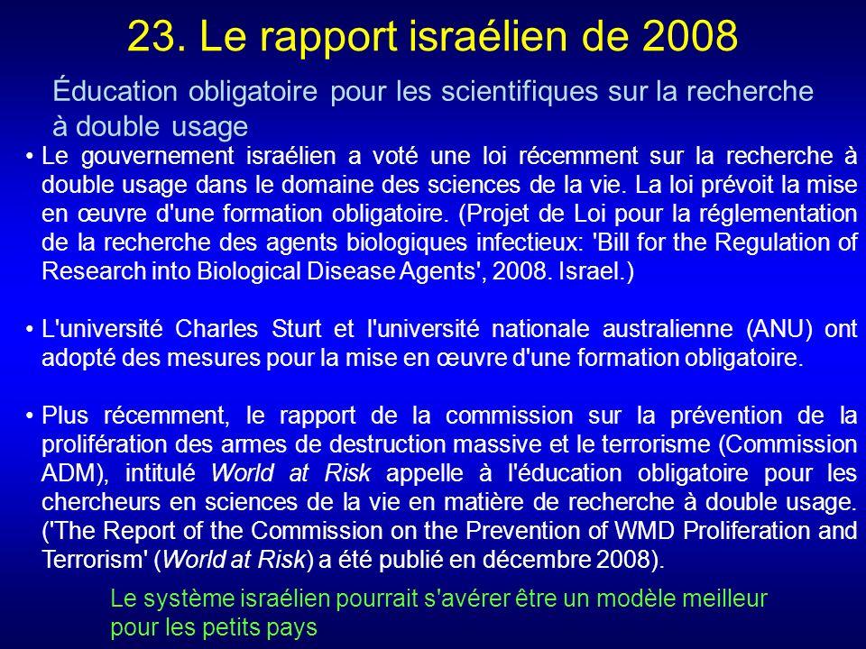23. Le rapport israélien de 2008