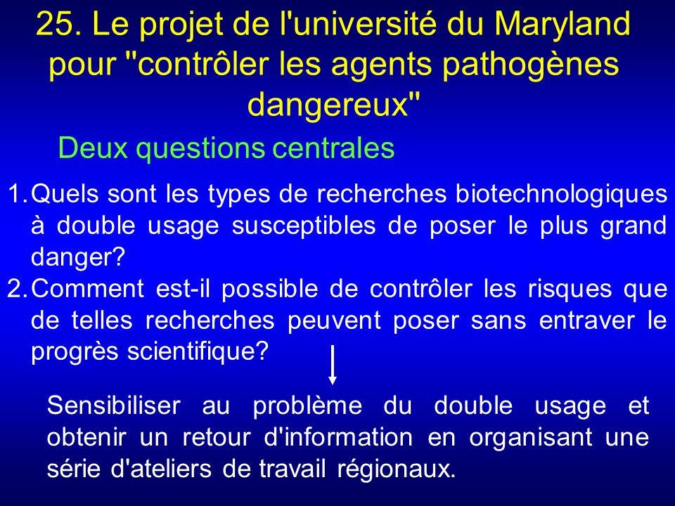 25. Le projet de l université du Maryland pour contrôler les agents pathogènes dangereux