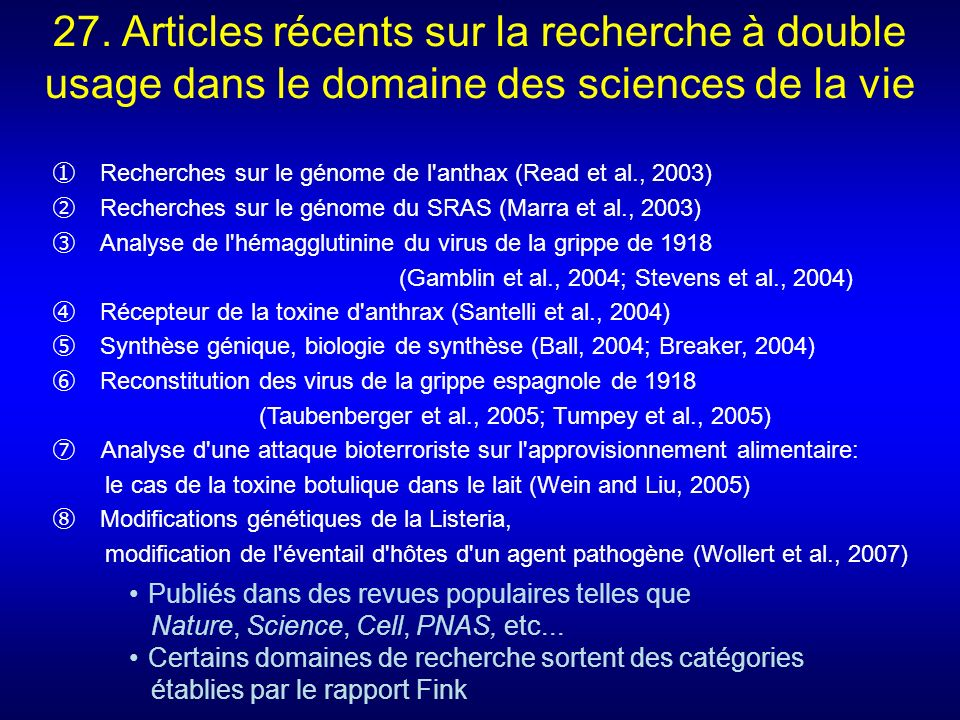 27. Articles récents sur la recherche à double usage dans le domaine des sciences de la vie