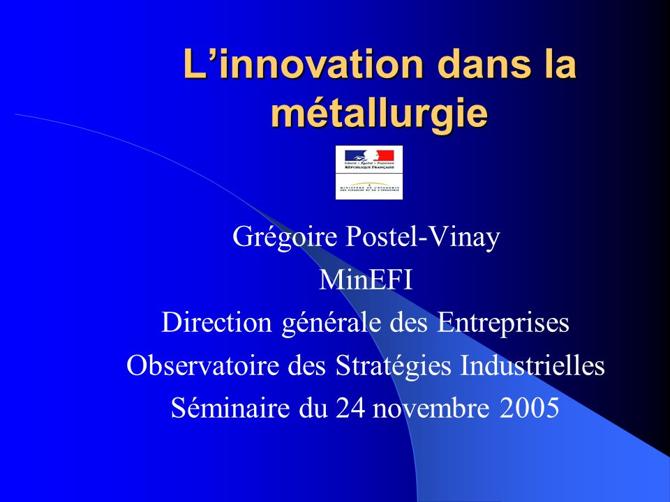 L'innovation dans la métallurgie