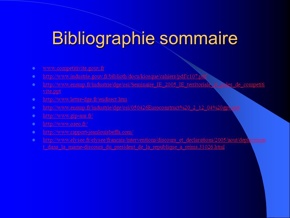 Bibliographie sommaire