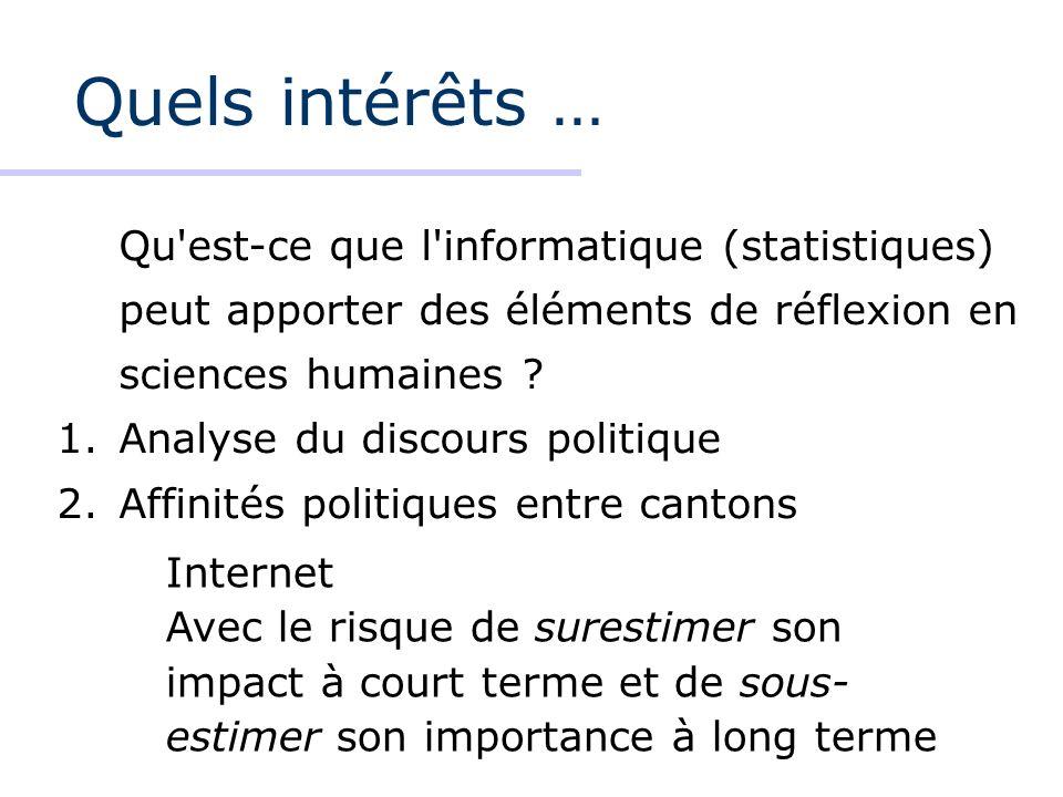 Quels intérêts … Qu est-ce que l informatique (statistiques) peut apporter des éléments de réflexion en sciences humaines