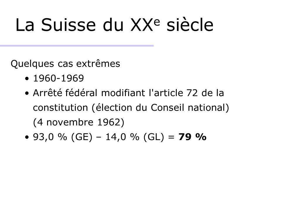 La Suisse du XXe siècle Quelques cas extrêmes 1960-1969