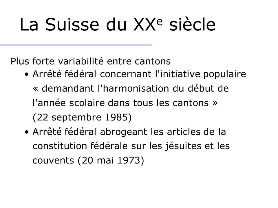 La Suisse du XXe siècle Plus forte variabilité entre cantons