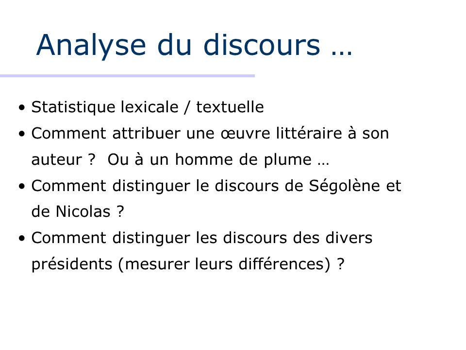 Analyse du discours … Statistique lexicale / textuelle