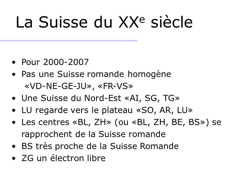 La Suisse du XXe siècle Pour 2000-2007