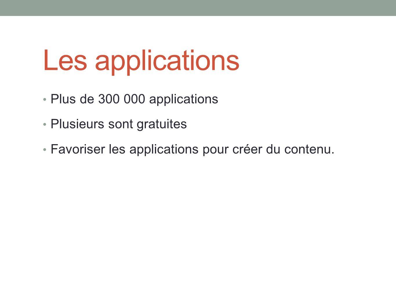 Les applications Plus de 300 000 applications Plusieurs sont gratuites