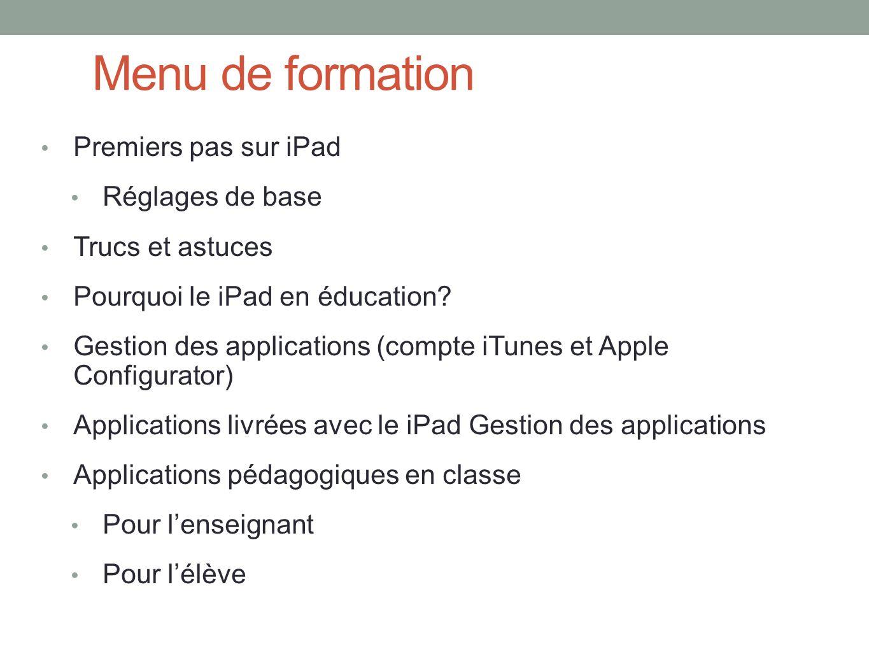 Menu de formation Premiers pas sur iPad Réglages de base