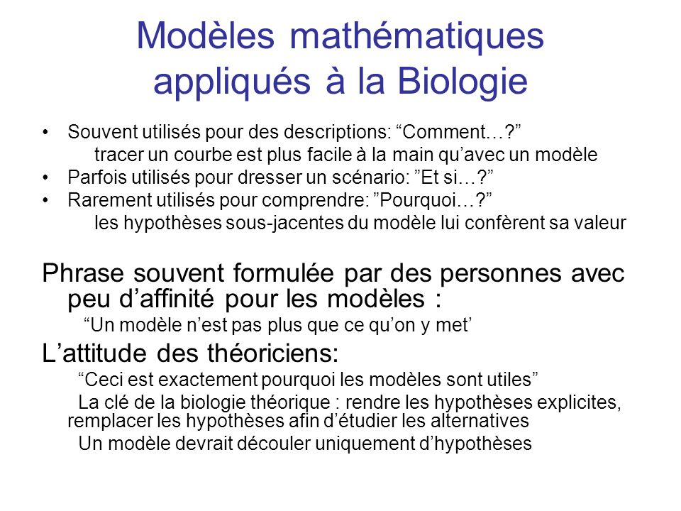 Modèles mathématiques appliqués à la Biologie
