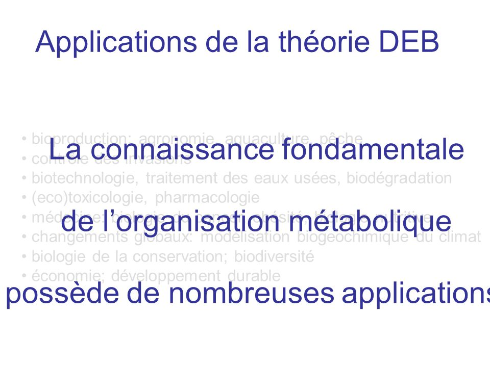 Applications de la théorie DEB