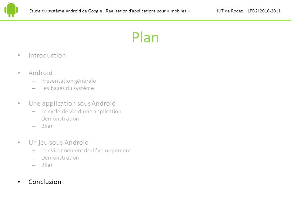 Plan Introduction Android Une application sous Android