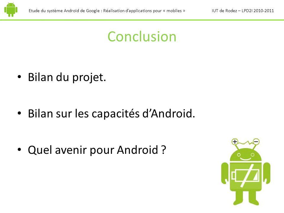 Conclusion Bilan du projet. Bilan sur les capacités d'Android.