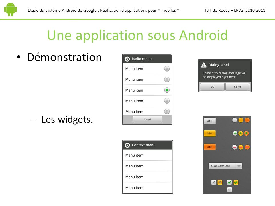 Une application sous Android