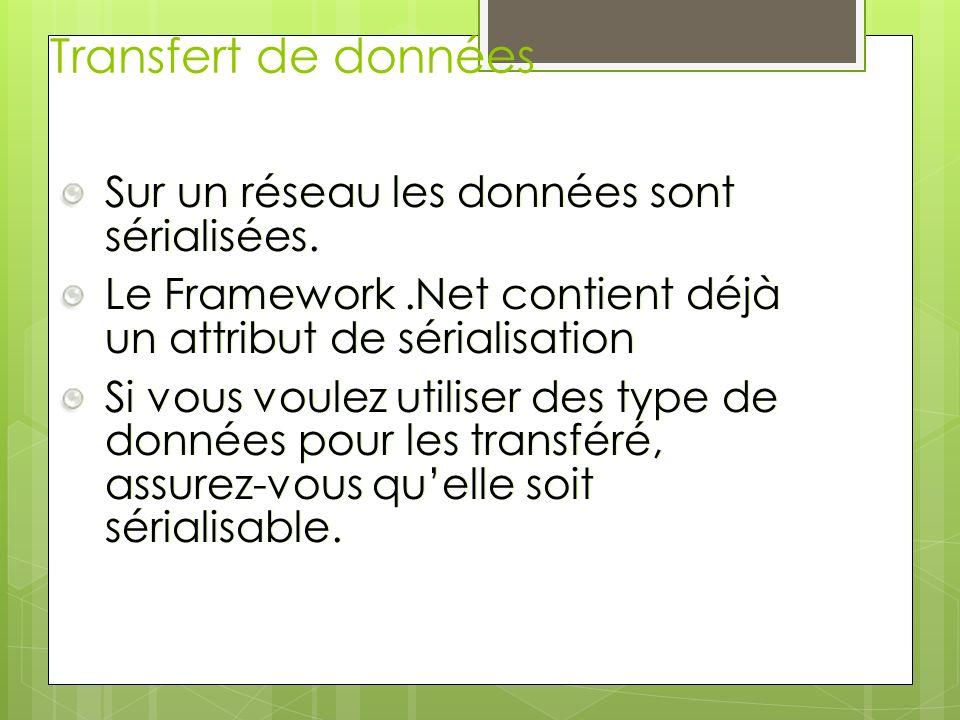 Transfert de données Sur un réseau les données sont sérialisées.