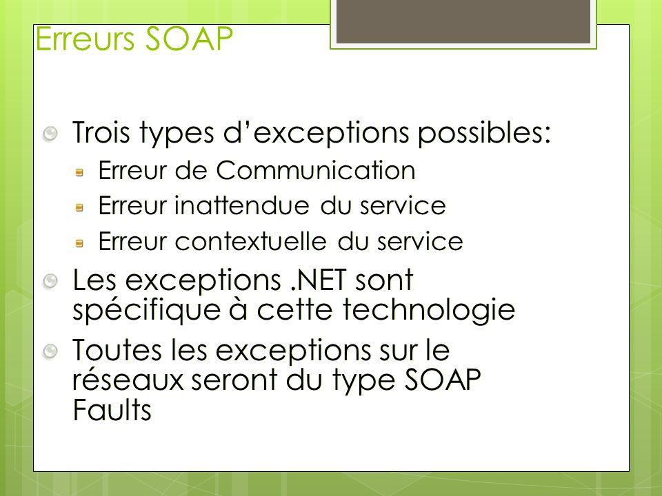 Erreurs SOAP Trois types d'exceptions possibles: