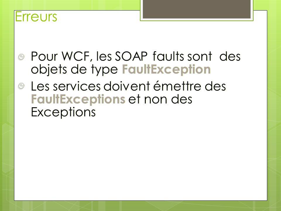 Erreurs Pour WCF, les SOAP faults sont des objets de type FaultException.