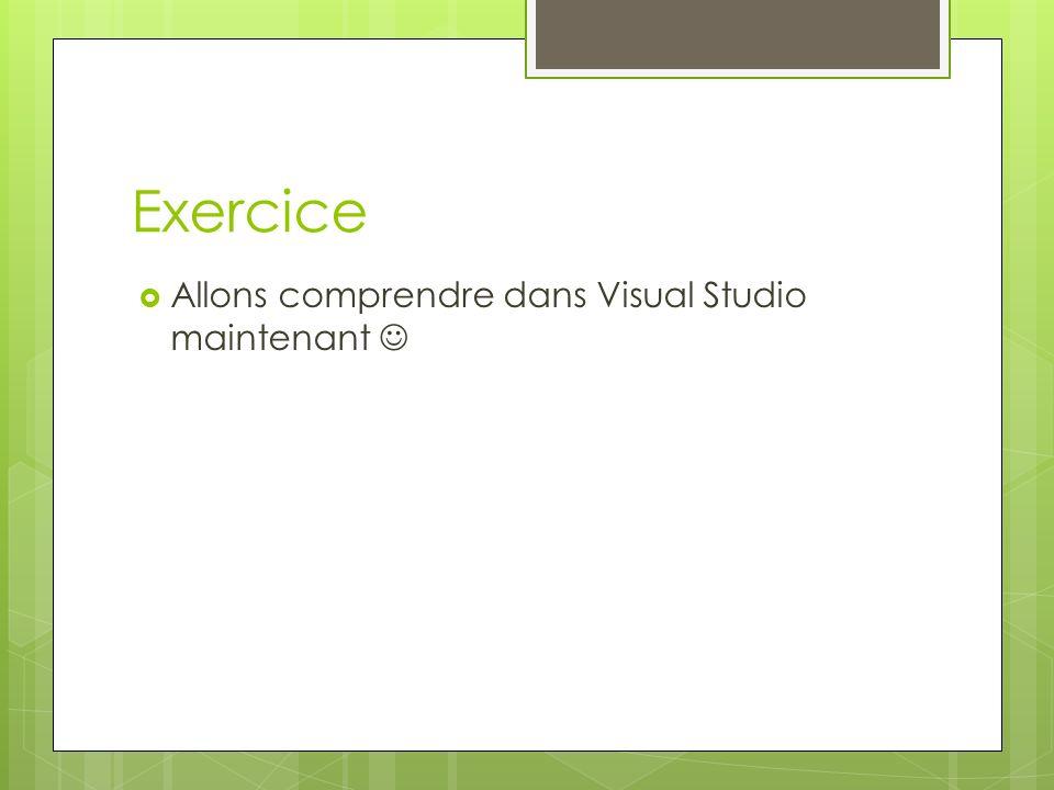 Exercice Allons comprendre dans Visual Studio maintenant 