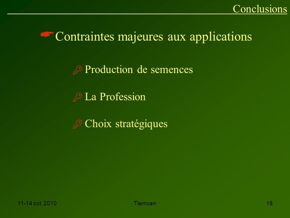 Contraintes majeures aux applications