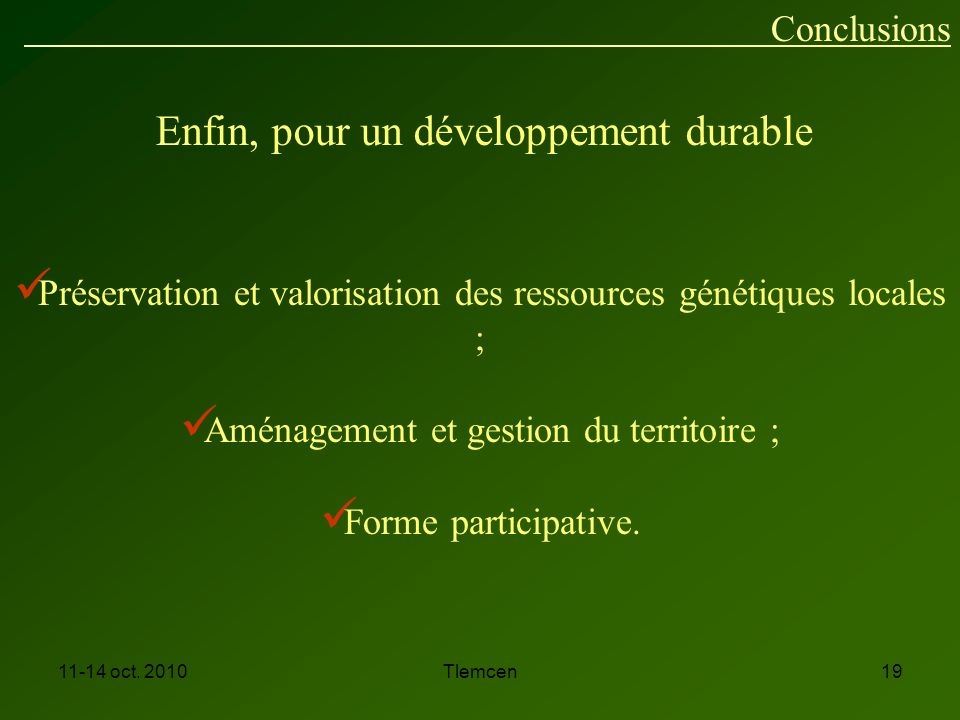 Enfin, pour un développement durable