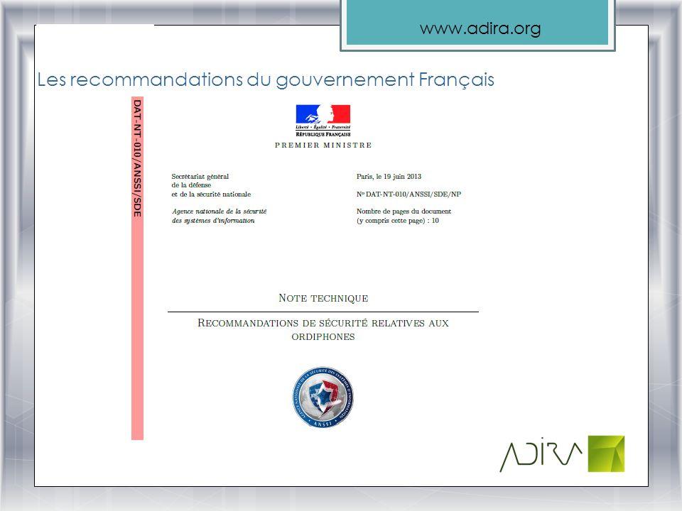 Les recommandations du gouvernement Français