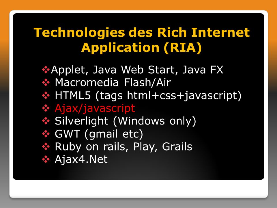 Technologies des Rich Internet Application (RIA)