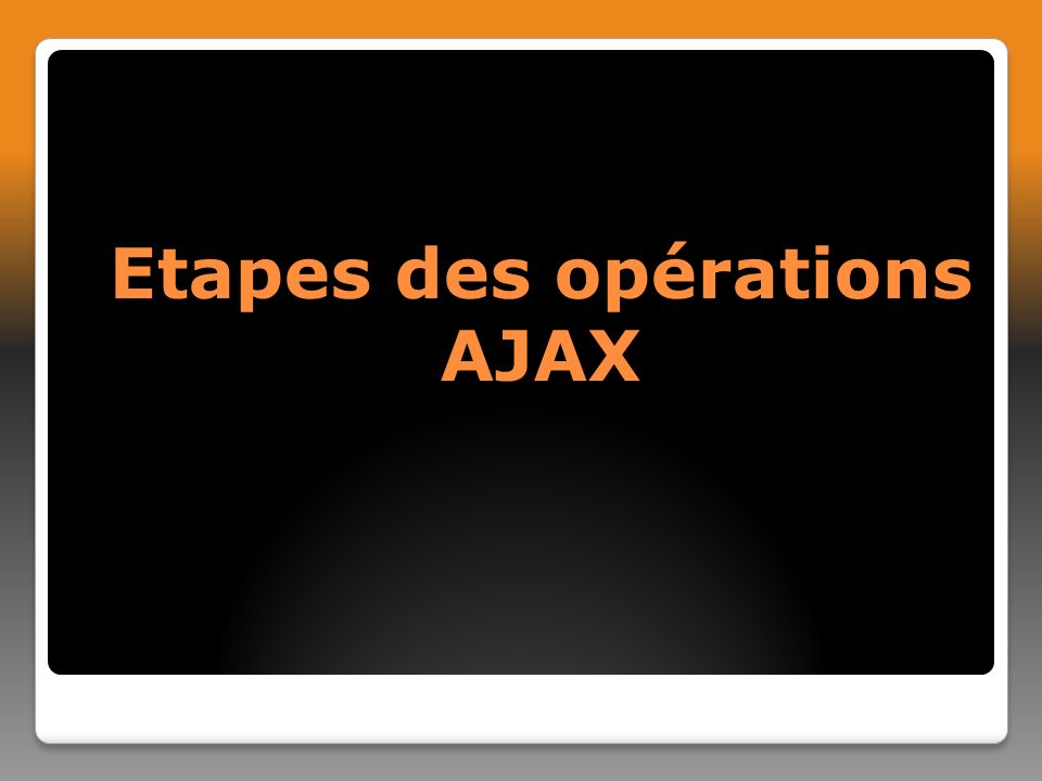 Etapes des opérations AJAX