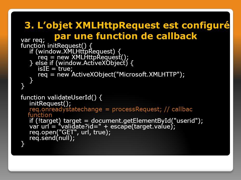 3. L'objet XMLHttpRequest est configuré par une function de callback