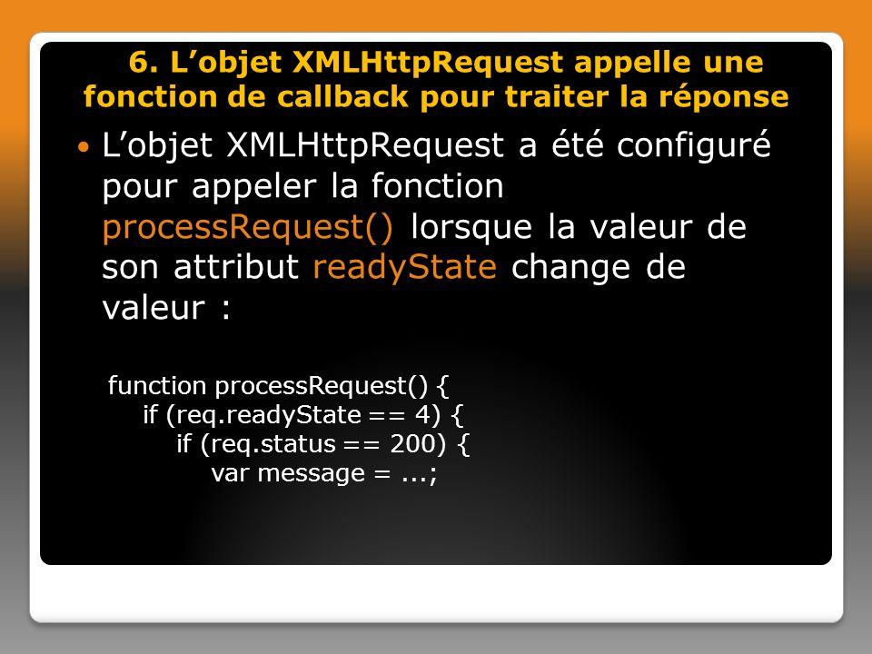 6. L'objet XMLHttpRequest appelle une fonction de callback pour traiter la réponse