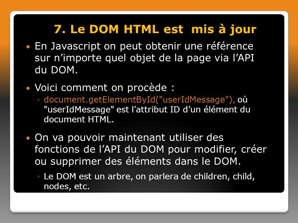 7. Le DOM HTML est mis à jour