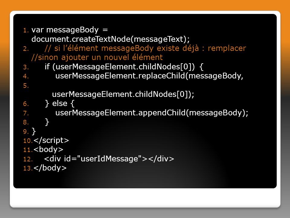 var messageBody = document.createTextNode(messageText);