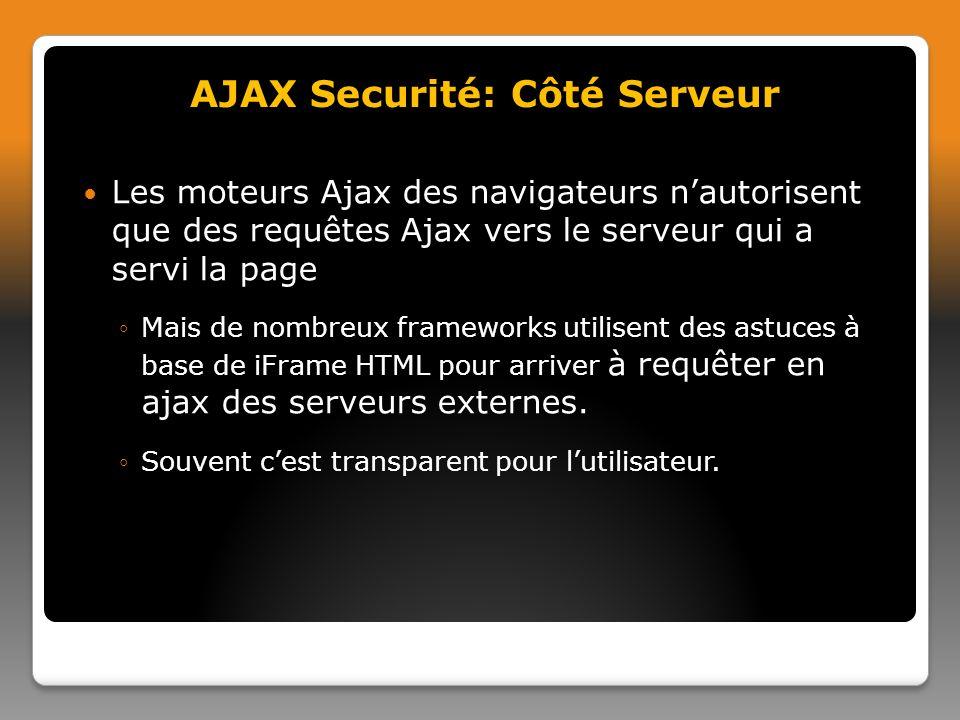 AJAX Securité: Côté Serveur