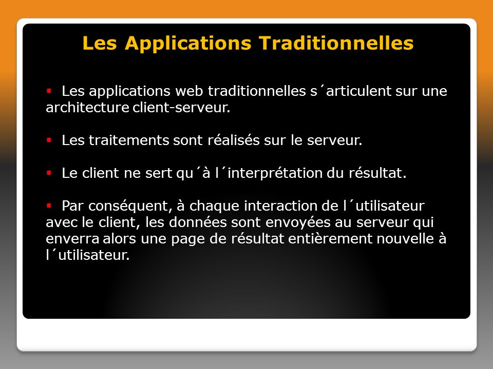 Les Applications Traditionnelles
