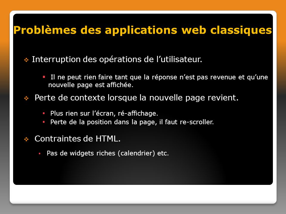 Problèmes des applications web classiques