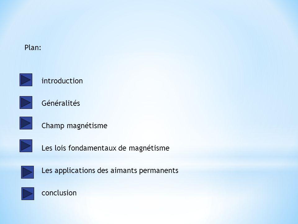 Plan: introduction. Généralités. Champ magnétisme. Les lois fondamentaux de magnétisme. Les applications des aimants permanents.