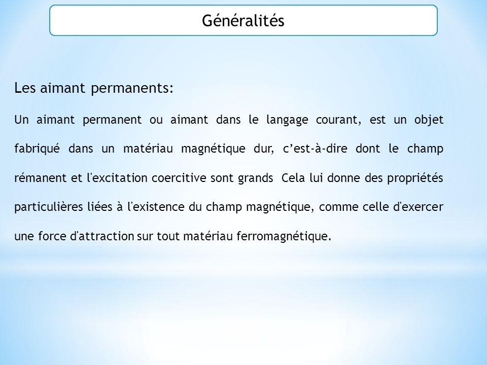 Généralités Les aimant permanents: