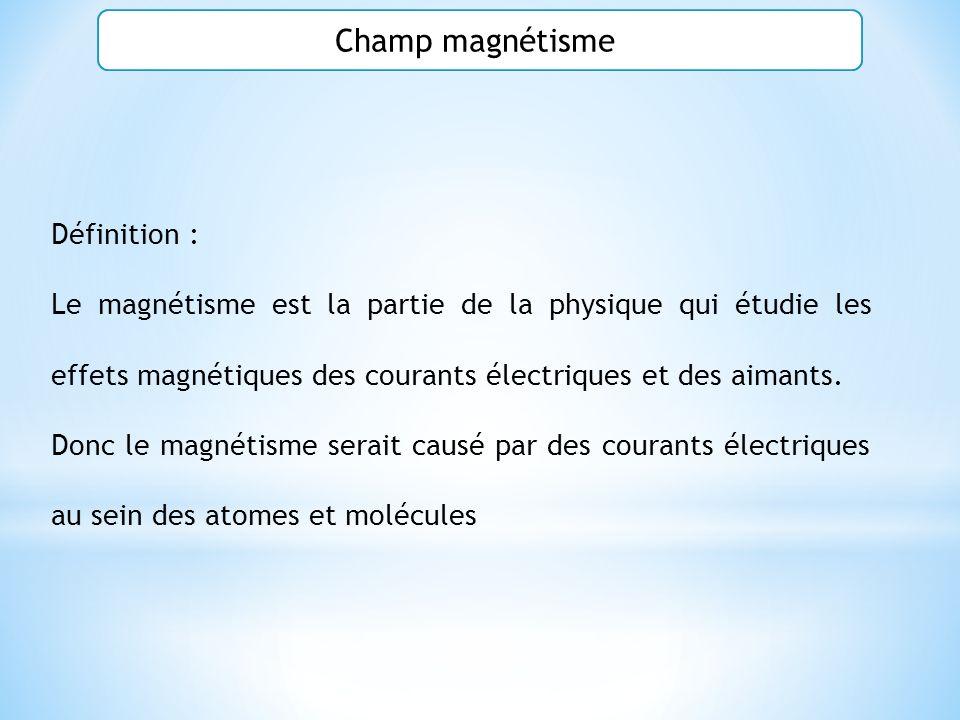 Champ magnétisme Définition :