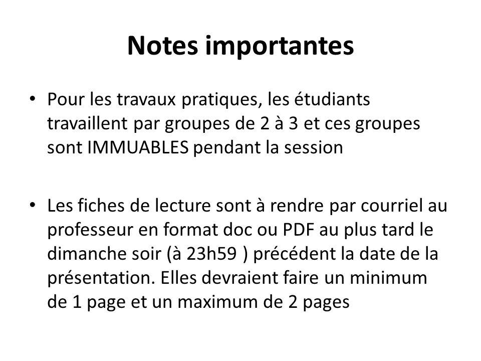 Notes importantes Pour les travaux pratiques, les étudiants travaillent par groupes de 2 à 3 et ces groupes sont IMMUABLES pendant la session.