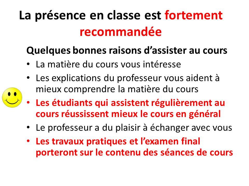 La présence en classe est fortement recommandée