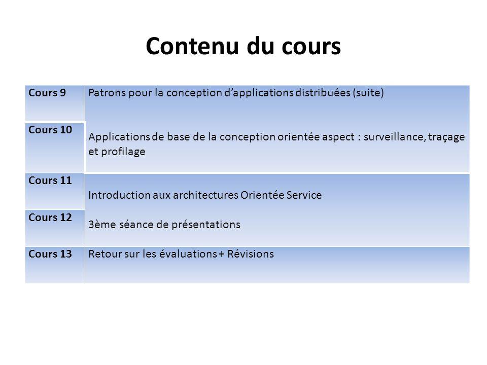 Contenu du cours Cours 9. Patrons pour la conception d'applications distribuées (suite)