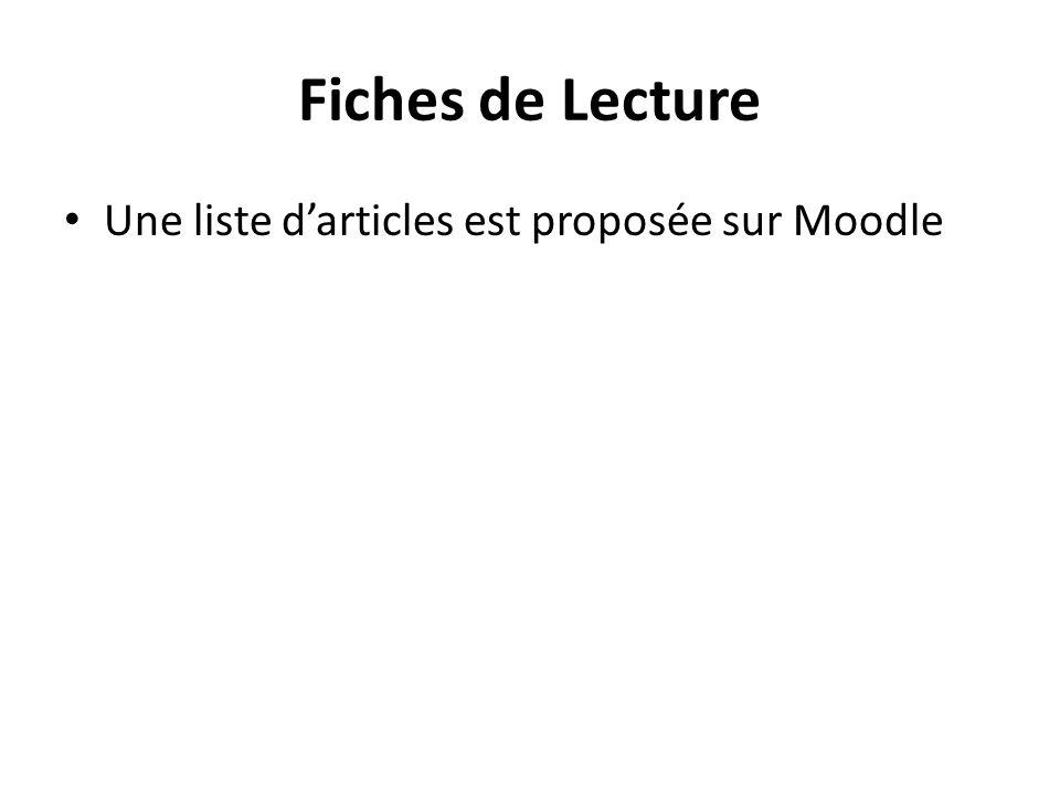 Fiches de Lecture Une liste d'articles est proposée sur Moodle