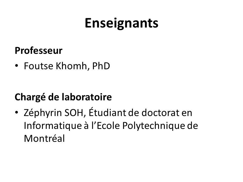 Enseignants Professeur Foutse Khomh, PhD Chargé de laboratoire