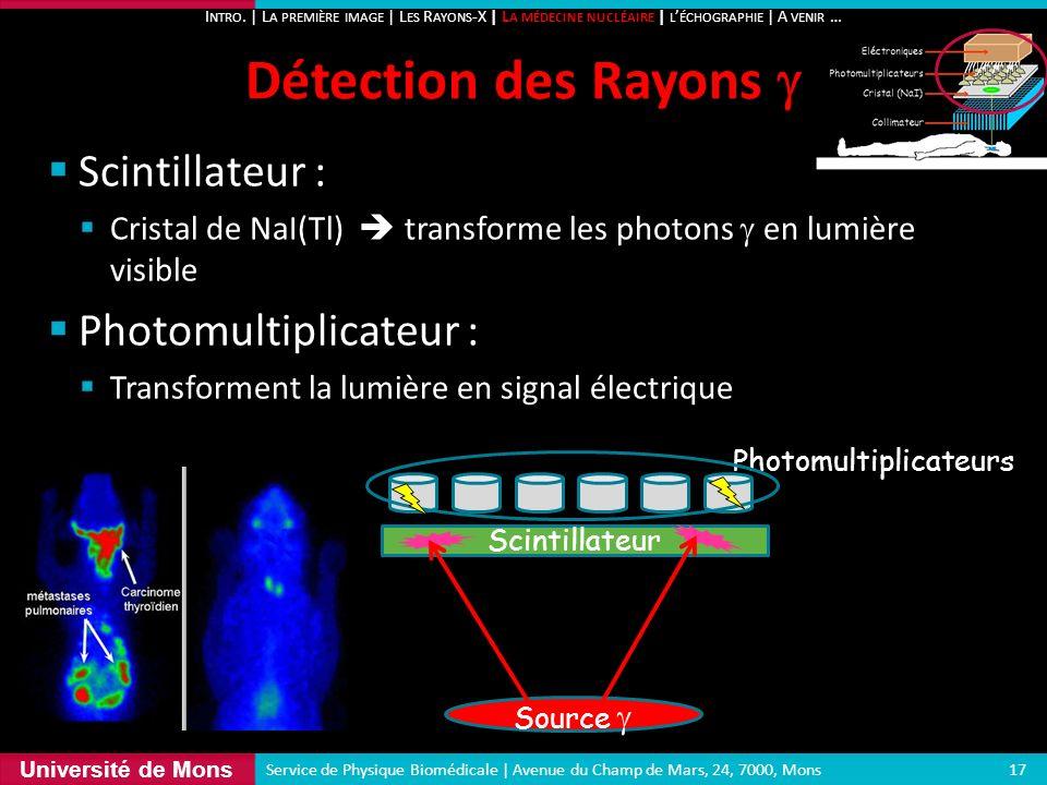 Détection des Rayons g Scintillateur : Photomultiplicateur :